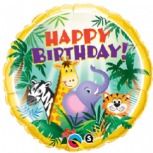 "Birthday Jungle Friends Foil Balloon (18"") 1pc"